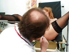 Skinny MILF Nora gyno clinic exam by kinky do