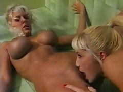 Hot blondes licking in the shower