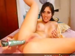 Amazing big titty babe anal pumping a dildo