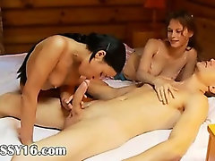 schoolmates threesome in an old cottage