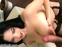 A Young Brunette Playing With Her Boobs Gets Cumshot