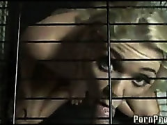 Amateur in a cage sucking cock