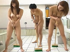 Busty Japan bath house nudist cleaning and sponge bath