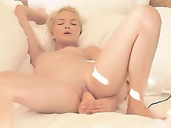 stunning blonde testing her new vibrator