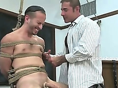 Strong gay hunk with round ass and firm body abused by rough master hidden under a leather outfit
