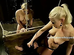 Delicious college babe punished by pervert lezdom mistress in spanking and rough lesbian sex video