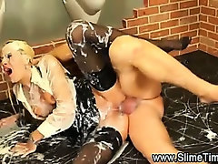Bukkaked glamorous couple fuck on the floor of a restroom