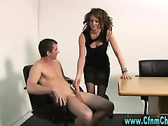 Stockinged cfnm slut takes over cock
