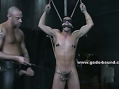 Gay cutie in costume unleashes his dirty side spanking man bound in rope fucking his tight ass