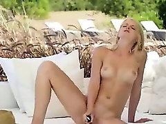 hot blonde testing big black toy