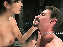 Extremly horny mistress with big tits spanking man and torturing him in femdom sex video