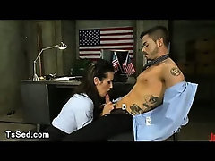 Handcuffed guy dick sucked by tranny agent