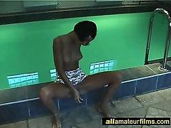 Amateur milf masturbating by the pool