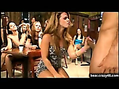 Many girls sucking stripper cock at huge party event