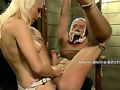 Blonde busty slut riding cock while dominating man sex slave in femdom bondage sex enjoying deep sex