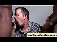 Hungry interracial twink sucks cock