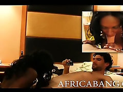 Big boobs amateur African banged on bed and drenched with white mans cum