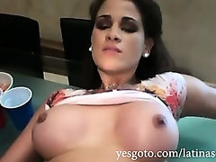 Phat ass latina girlfriend Raquel smashed deep down her hairless snatch