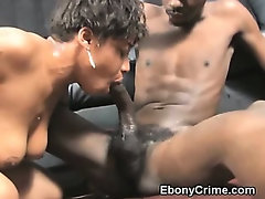 Black Ghetto Slut Gagging On Cock In Her Throat