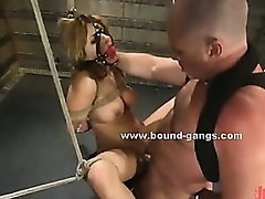 Small boobs spanked with whip before cock assaults mouth and pussy in bdsm rough sex
