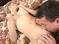 Blonde whore sucks a cock and does such a great job