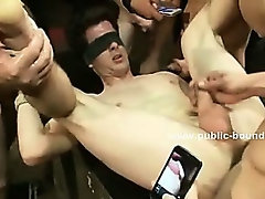 Cop gets in gay restroom and is brutally forced to fuck in extreme gangbang sex humiliation