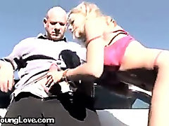 A Sexy Blonde Girl Blowing Her Driving Instructor
