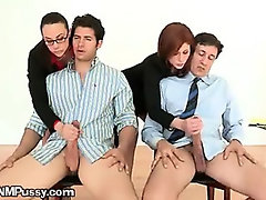 Two Sexy Secretaries Playing With Two Long Dicks