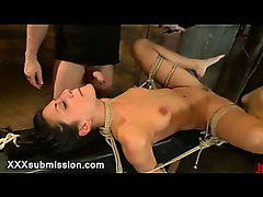 Tied up babe throat fucked and vibed by master
