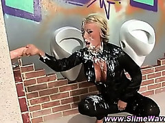 Gloryhole messy fetish slut jerks fake cock
