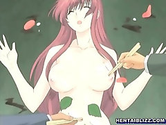Busty Japanese hentai in sashime sex party