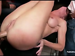 Blond amateur fucked in public