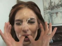 Horny whore Riley Shy loves it as she gets her face splattered in spunk