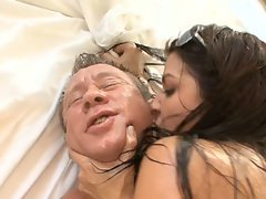 Old man gets oiled up and does same for freak Ann Marie to have sweaty sex