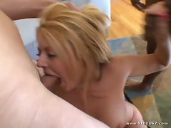 Sophie Dee gets her mouth crammed with hard cock