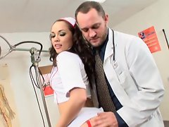 Nurse Kristina Rose gets a good fucking from a doctor at the office