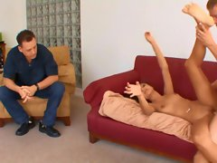 The husband of AJ Estrada taking a look at her being fucked hard