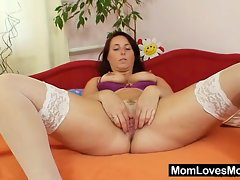 Very sexy natural big tits milf Lexa dildo action