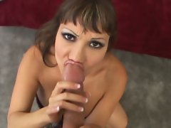 Ava Devine takes a cumload meal after slobbering on the cock