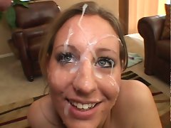 Complete white out as Lizzy London gets covered in goo after her great head