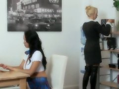Laura Lion and Diana Gold go to a office and both get a hard fuck