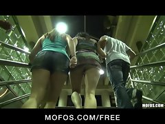 Three HOT sluts start orgy in public at train station