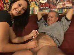 Sweetheart Jessica Valentino gives the pork sword a tight squeeze