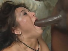 Cece Stone gets cock sweat all over her face as she goes down on this huge dong