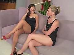Victoria Vonn & Jayme Langford take off little black dresses to munch each other