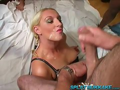 UK blonde gets fucked and jizzed on in bukkake party