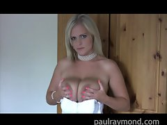 PaulRaymond blonde babe Charley plays with big boobs
