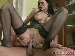 Luscious Abbie Cat bounces her ass on this hard dick
