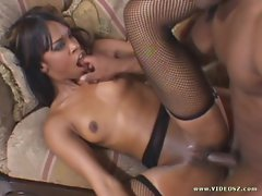 Ebony babe Vanessa Monet gets her wet pussy hammered