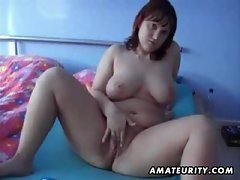 Chubby amateur wife toys, sucks and fucks with cum